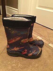Bottes pluie avec feutres amovibles gr 11.Rain boots size 11