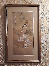 Hand painted chinese oriental art bird and flowers