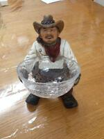 Western Decor Cowboy with Glass Candy dish