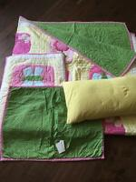 Girls Pottery Barn Quilt and Shams