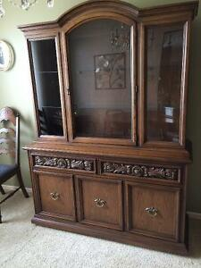 CHINA CABINET / HUTCH OPTIONAL USE AS SIDE BOARD - $200