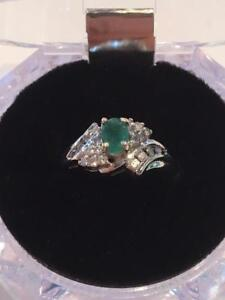 #1141 14K Emerald and Diamonds!! Size 9!