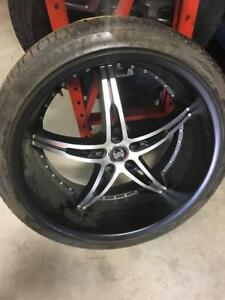 TRAX 0153 ) 4-265/35zr22 WHEELS AND TIRES  CHRYSLER 300 CHALLENGER CHARGER 5x115 TIRES AND WHEELS $2200 OBO