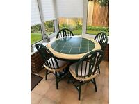 Beautiful round cottage style, tiled table and matching chairs