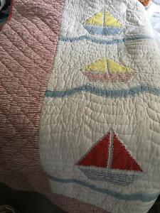 Pottery Barn Sailing Theme Quilt for Boy's Queen or Double Bed