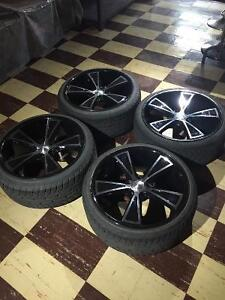 Tires and rims 20inch BLACK & CHROME