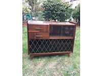 vintage retro 50s 60s 70s mid century wooden glass display cabinet book case cocktail bar