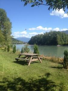 1 acre 4 bed 2 bath Furnished house on River in town Terrace BC