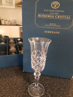 Bohemia Crystal Serenade Champagne Flutes x 6 ... Brand New