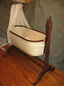 ANTIQUE CANOPIED SWINGING BASSINET BABY'S BED c. 1900