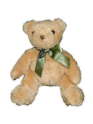 "Harrods 9"" Tan Teddy Bear Plush Green Bow Stuffed Animal"