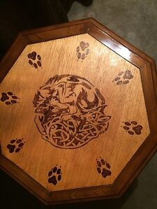 Wood Burnt Wolf End Table