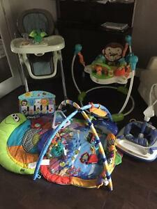 Baby highchair, jumperoos, activity mats and toys