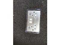 2 Satin Chrome twin USB sockets