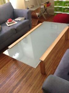 glass top coffee table + end table