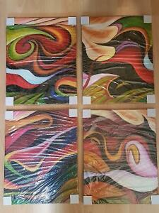 Bright, Colourful Abstract on Canvas (4 Pieces)