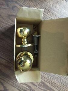 Brass door hardware set