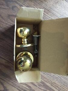 Brass door hardware set