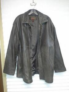 Several men's leather jackets, coats, parkas, vests for sale..