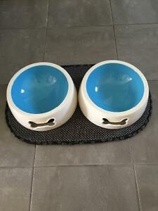 Beautiful dog bowls and placemat