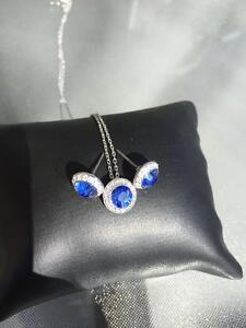 Swarovski Blue Saphire Pendant and matching earring