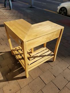 Corner Wrap Around V Shaped Table Desk Shelf Console This I