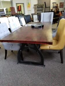 Industrial Vintage Dining Table With Metal Base On Clearance