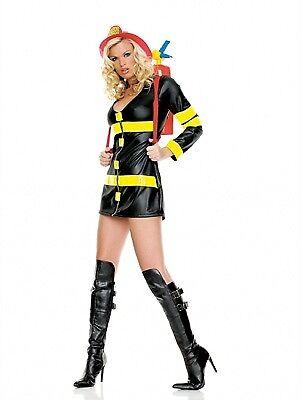 Leg Avenue Costume Fire Woman 83230 BLack/Yellow Large (Fire Woman Halloween Costumes)