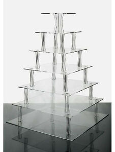 7 Tier Clear Square Shaped Acrylic Cup Cake Stand