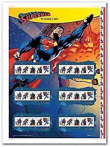 Superman Canada post uncut stamps in tube unopened