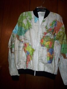 Wearin' The World map Graphic Tyvek paper jacket XL unisex 1989