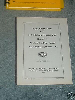 Repair Parts Manual Barber Colman 6-16