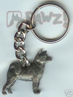 AKITA Dog Fine Pewter Keychain Key Chain Ring NEW