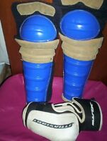 "VTG blue hockey shin pads guards  21""  Mace  Louisville L elbow"