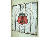Large Vintage Retro Route 66 Wall Clock