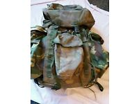 BRITISH ARMY RUCKSACK & FRAME LONG CONVOLUTED BACK DPM IRR 45 litre