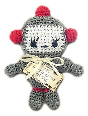 Knit Knacks Baby Bot Organic Cotton Small Dog Toy - Teeth Cleaning