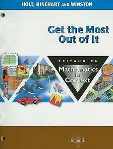 Holt Math in Context Student Edition Get The Most Grade 8 2003 Math in Contex - <span itemprop=availableAtOrFrom>Hertfordshire, United Kingdom</span> - Returns accepted Most purchases from business sellers are protected by the Consumer Contract Regulations 2013 which give you the right to cancel the purchase within 14 days after th - Hertfordshire, United Kingdom