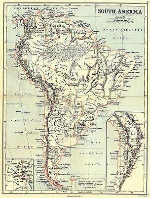 SOUTH AMERICA: With United States of Colombia(Colombia & Panama).BUTLER;1888 map