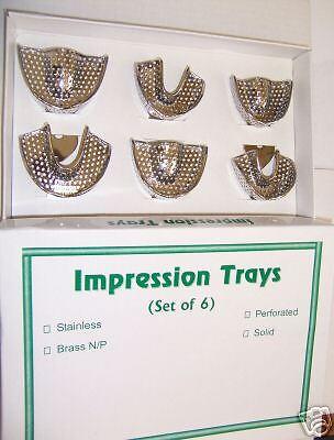 6 Dental Impression Trays Set Perforated Denture Dental Instruments