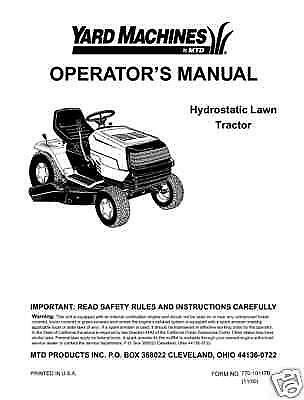 Huskee push mower Engine Manual