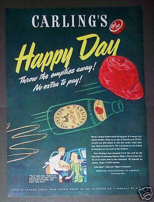 1947 Carling's Red Cap Ale no deposit bottle Bar Art Ad