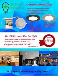 4'' LED Slim Panel / Recessed light Dimmable 9W = 60W, cUL -I C Rated - 5 Years Warranty - 12.99 $ - 50% Ship discount