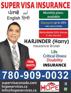 SUPER VISA INSURNCE (45% DISCOUNT & MONTHLY PLANS )