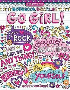 Image Is Loading NEW Notebook Doodles Go Girl Coloring Amp Activity