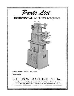 Sheldon Horizontal Milling Machine Parts Manual