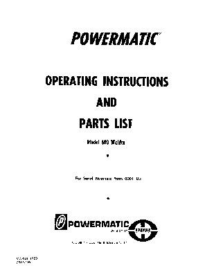 Powermatic Model 600 Blade Welder Manual Sn 0001 Up