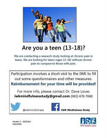 Healthy Teens 13-18 for a Research Study at the IWK