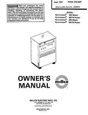 Miller Syncrowave Welder Owners Manual Parts List