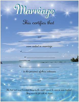 Shining Stars & Blue Water Marriage Certificate